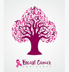 breast cancer awareness month pink ribbon tree art vector image