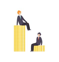 businessmen standing on stacks coins vector image