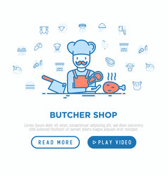 butcher shop chef with meat steak and knife vector image