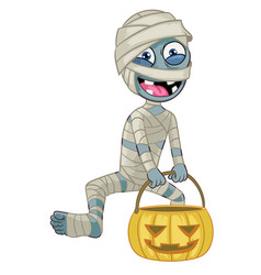 cartoon mummy character hold halloween pumpkin vector image