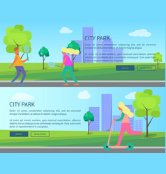 City park collection of creative posters with text vector