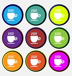 Coffee cup sign Nine multi colored round buttons vector image
