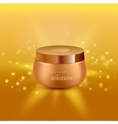 Collagen solution intensive cream tube gold vector image