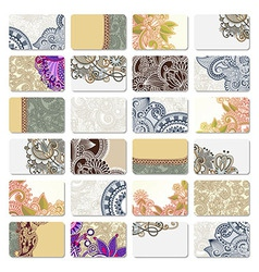 Collection of colorful floral ornamental business vector