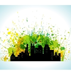 Color Paint Splashes Eco Green City Background vector image