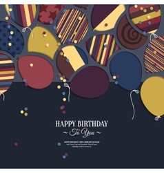 colorful birthday card with paper balloons and vector image