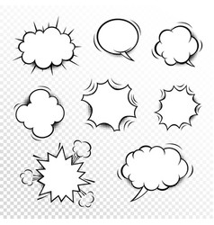 comic speech bubbles set with different shapes vector image