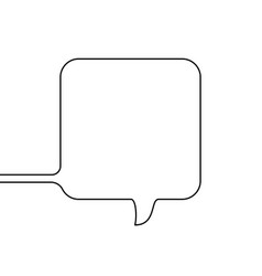 continuous line drawing square speech bubble vector image