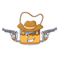 Cowboy messenger bag on a isolated mascot vector