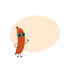 cute and funny sausage character in sunglasses vector image