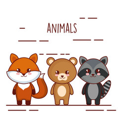 cute and little animals characters vector image