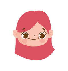 Cute face little girl expression facial vector