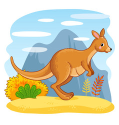 cute kangaroos jumping through the sand vector image