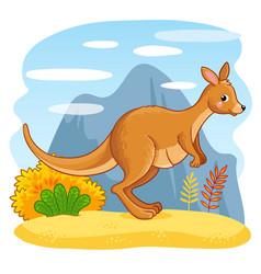 Cute kangaroos jumping through the sand vector
