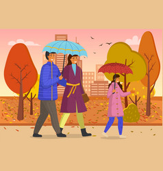 daughter dad and mom walk in autumn yellow park vector image