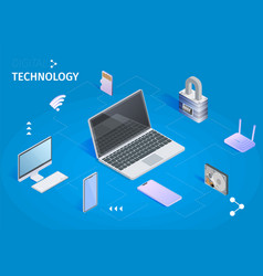 digital technology banner cloud computing storage vector image