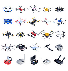 drone icon set isometric style vector image