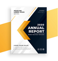 Elegant yellow business annual report template vector