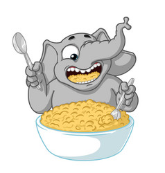Elephant he eats porridge with a spoon vector