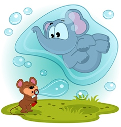 Elephant mouse and bubble blower vector