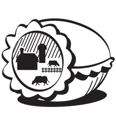 Farm in egg vector