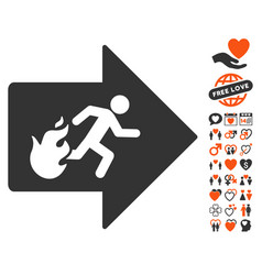 Fire exit icon with love bonus vector
