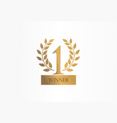 first place number one golden laurel wreath vector image