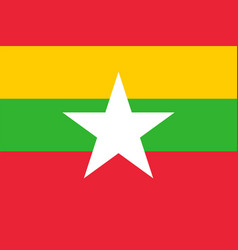 flag of myanmar in national colors with a star vector image