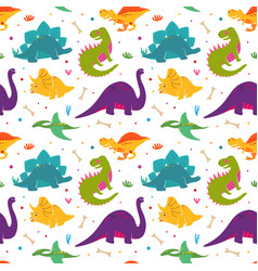 funny dinosaurs seamles pattern vector image