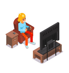 Gamer young girl watching tv playing game sit vector