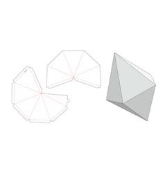 Gem stone box die cut template vector