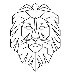 geometric lion logo king walking line art outline vector image