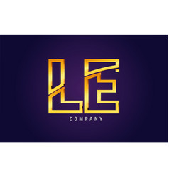 Gold golden alphabet letter le l e logo vector