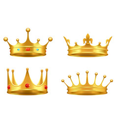 golden crown with gems 3d icon realistic vector image