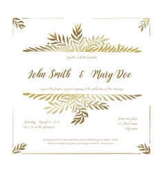 golden wedding invitation card template vector image