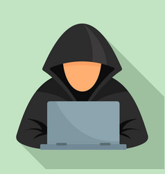 hacker at laptop icon flat style vector image