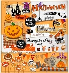 Halloween scrapbook elements vector