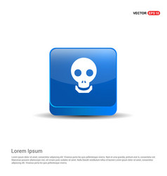 halloween skull icon - 3d blue button vector image