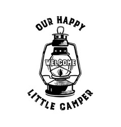 Happy camper badge with quote our little camp and vector