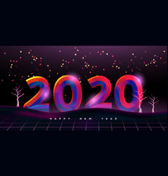 happy new year 2020 80s disco party card vector image