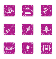 Hobby boy icons set grunge style vector