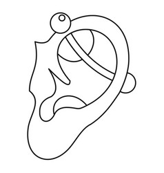 human ear with piercing icon outline vector image