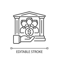 Institutional donor linear icon vector