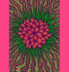 Intricate fantastic abstract flower bright orange vector