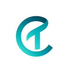 Letter ct monogram logo design vector