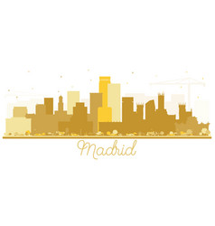 Madrid spain skyline silhouette with golden vector