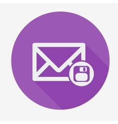 Mail icon envelope with floppy disk Flat design vector image vector image