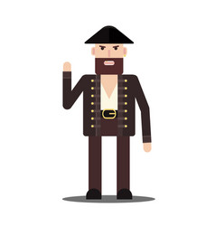 male pirate in flat style isolated on white vector image