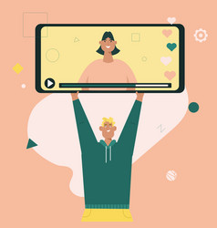 man holds huge smartphone with video young girl vector image