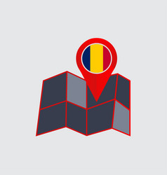 Map chad with a country flag vector